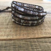 Essential Oil Diffuser Botswana Agate Stone Wrap Bracelet on Distressed Leather