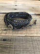 Essential Oil Diffuser Labradorite Stone Wrap Bracelet on Distressed Leather