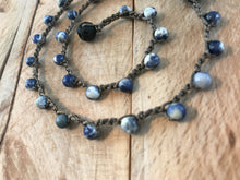 Essential Oil Diffuser Necklace - Aromatherapy Diffuser - Essential Oil Jewelry Blue Sodalite Crochet Necklace