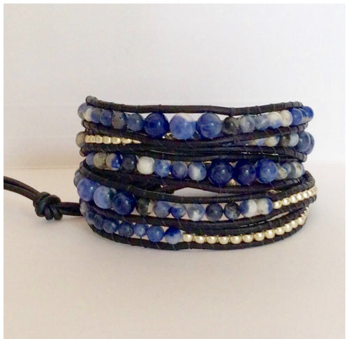 Beaded Leather Wrap Bracelet - Blue sodalite Stone, silver Miyuki Boho Chic