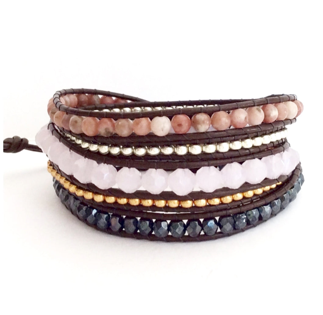Pink Leather Wrap Bracelet - Lepidolite Stones, Pink Quartz, Black Czech Crystal, Miyuki Silver and Gold Beads o