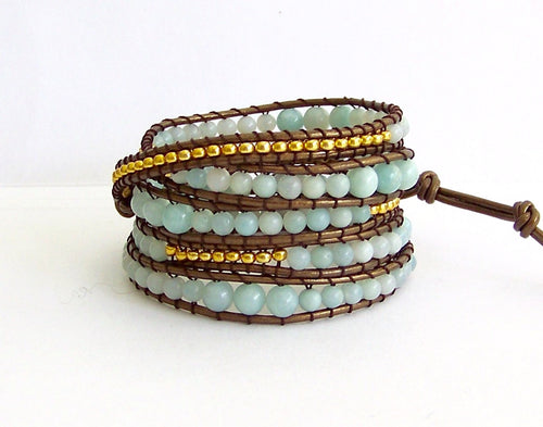 Amazonite Beaded Leather Wrap Bracelet