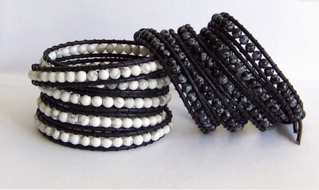 Leather Wrap Bracelet Black Obsidian Stone or White Howlite