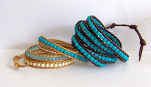 Variegated Turquoise Beaded Leather Wrap Bracelet