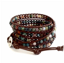 Fancy Jasper Beaded Leather Wrap Bracelet