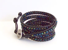 Iridized Multi Color Beaded Leather Wrap Bracelet