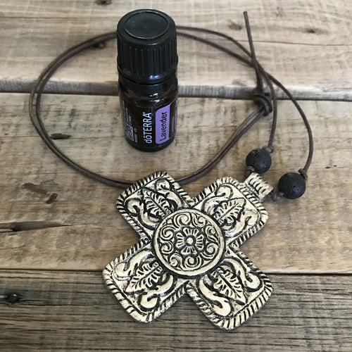 Lava Essential Oil Diffuser Necklace - Aromatherapy Diffuser Essential Oil Jewelry Pewter Cross Leather Necklace
