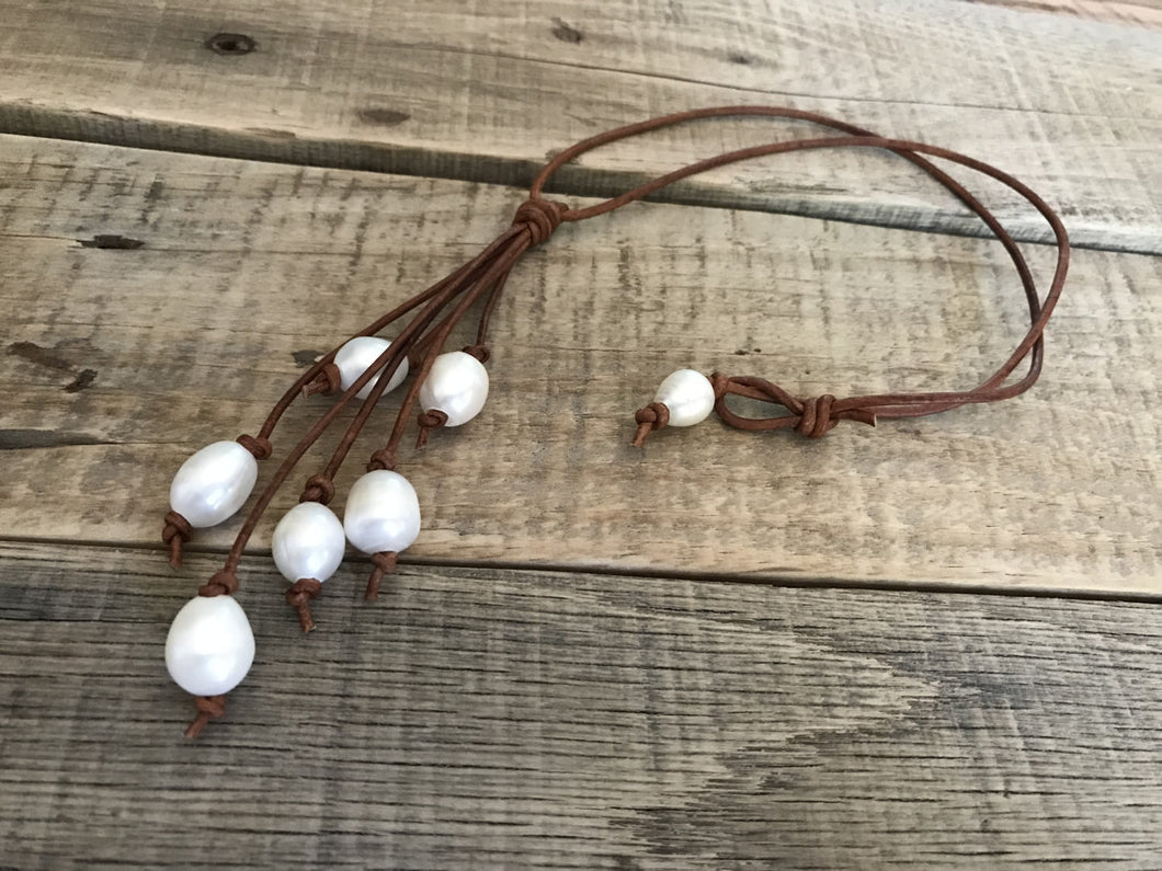 Essential Oil Diffuser Necklace - Aromatherapy Diffuser - Essential Oil Jewelry - Leather Freshwater Pearl Necklace