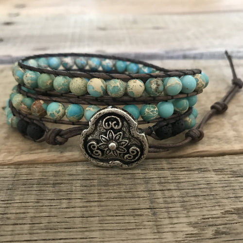 Lava Essential Oil Diffuser Bracelet - Aromatherapy Diffuser - Lava Rock Essential Oil Jewelry - Turquoise Stone Leather Wrap Bracelet