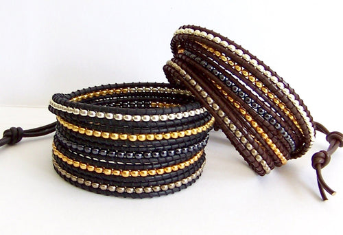Beaded Leather Wrap Bracelet - Mixed Metal Miyuki Bead Nuggets