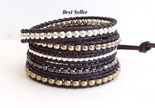 Leather Wrap Bracelet - Layers of Silver Nuggets, Hemalyke