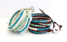 Turquoise Leather Wrap Bracelet - Turquoise Mix Beads, Mountain Jade