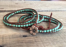 Turquoise Beaded Leather Wrap Bracelet - Western Turquoise Beads