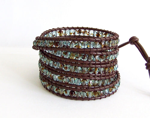 Beaded Leather Wrap Bracelet - Blue and Brown Czech Crystals