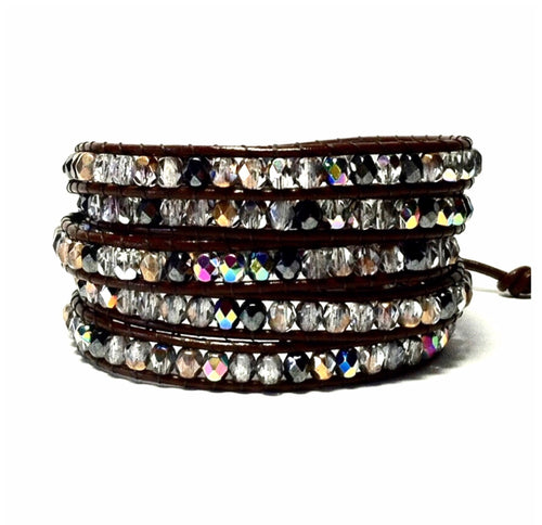 Beaded Leather Wrap Bracelet - Czech Fire Polished Beads
