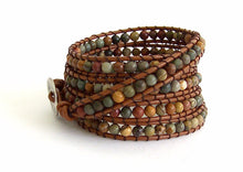 Leather Wrap Bracelet - Red Creek Jasper semi-precious Stones