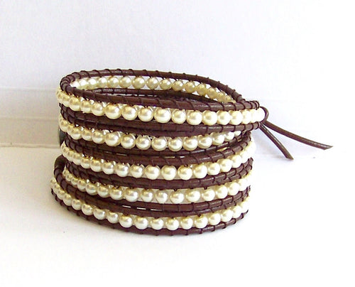 Pearl Beaded Leather Wrap Bracelet - Beach Jewelry Creamy White Pearls