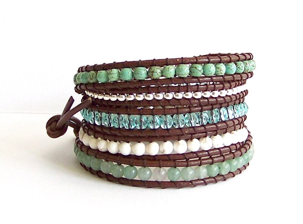 Variegated Turquoise Leather Wrap Bracelet - Aventurine, Turquoise, Crystal