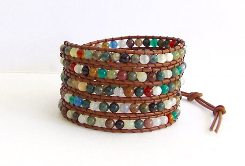 Leather Wrap Bracelet - Fancy Jasper, Agate Semi-Precious Stone