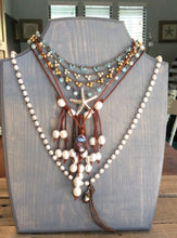 Beach jewelry - Leather and Pearl Necklace - Freshwater Pearls, Distressed Brown Leather - Boho Beach Cottage Chic