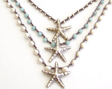Beach Jewelry Starfish Necklace - Freshwater Pearls, Amazonite, Silver Beads, Sterling Silver Starfish Pendant, Boho Beach Cottage Chic