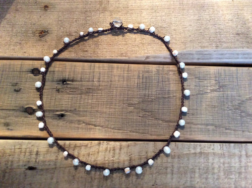 Beach Jewelry Crochet Pearl Necklace Boho Beach Treasure