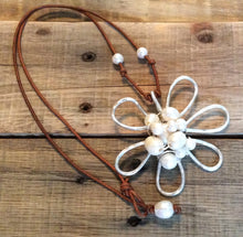 Beach jewelry - Freshwater Pearls Necklace - Metal Daisy Freshwater Pearls Boho Beach Cottage Chic