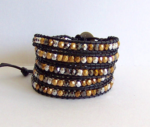 Leather Wrap Bracelet - Mixed Metal Czech Bead Nuggets