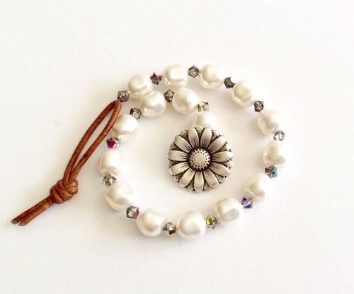 Beach Pearl Leather Wrap Bracelet - Swarovski Baroque Pearls Beach Treasure