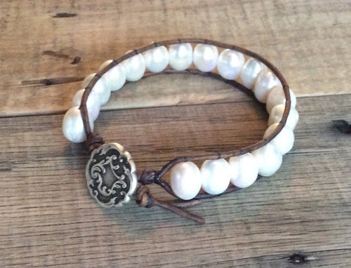 Single Freashwater Pearl Leather Wrap Bracelet boho hippie chic