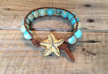 Beach Jewelry - Single Wrap Bracelet - Leather wrap - Starfish bracelet, boho Frienship