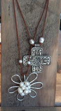 Beach jewelry - Large Metal Cross Necklace - Freshwater pearls Boho Beach Cottage