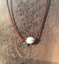 Freshwater Pearl and Leather Necklace - Freshwater Pearls, Sterling Silver Pendant Boho Beach Cottage Chic