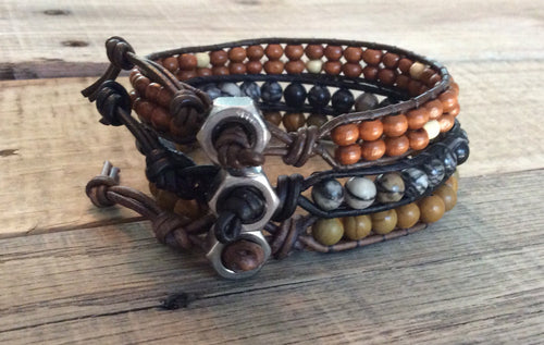 Men's Leather Wrap bracelet - Men's Gift - Rocker Biker Bracelet