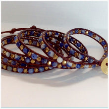 Beaded Leather Wrap Bracelet - Sodalite Blue Stones with Gold faceted beads - Bohemian Artisan Chic