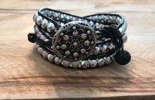 Essential Oil Diffuser Bracelet - Aromatherapy Diffuser - Lava  Rock Essential Oil Jewelry Silver Czech Crystal Leather Wrap Bracelet