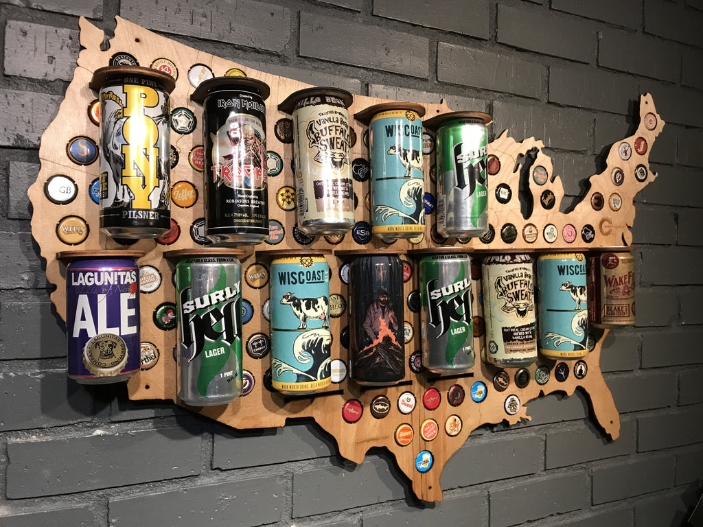 Wood Usa Beer Can Map Beer Cap Maps