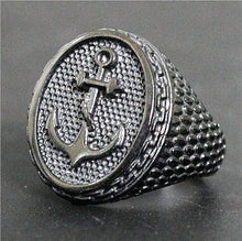 Black Stainless Steel Anchor Ring for Men Nautical Ring Nautical Jewelry