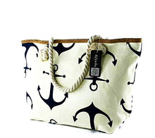 Large Summer Canvas Anchor Tote Bag Nautical Fashion Style