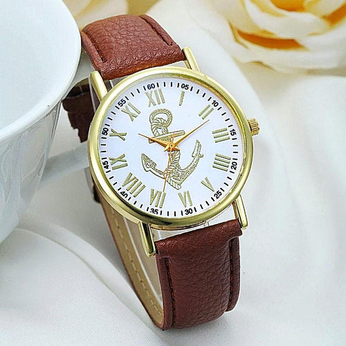Vintage Leather Strap Anchor Watch for Men