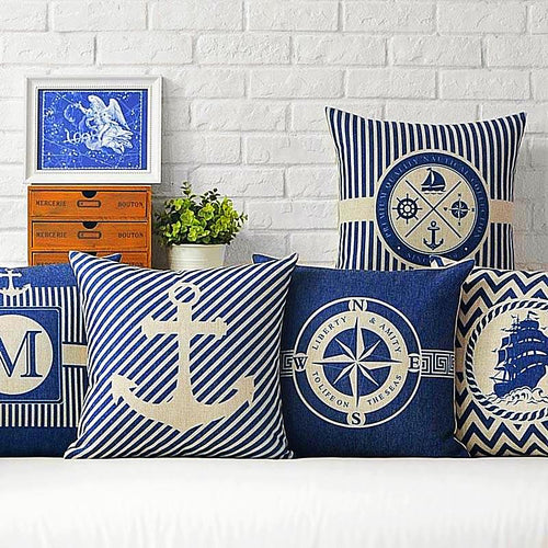 Anchor Pattern Nautical Style Cushion Covers Anchor Home Design