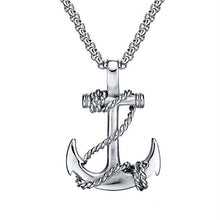 Stainless Steel Men's Anchor Pendant Necklace