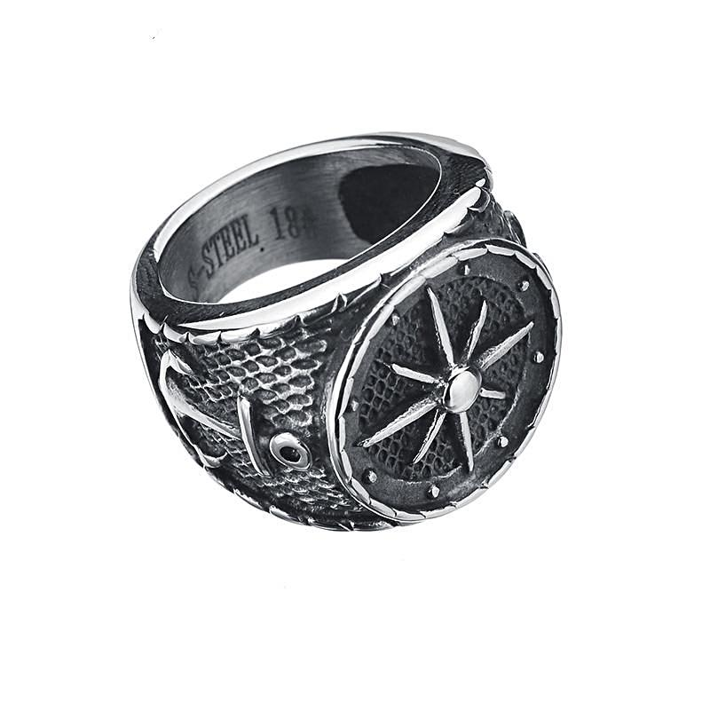 Stainless Steel Compass & Anchor Ring for Men Nautical Ring Nautical Jewelry