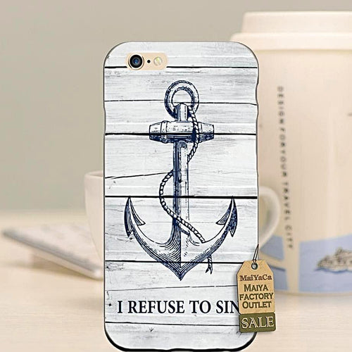Unique Wood Pattern Anchor Phone Case Nautical Phone Case
