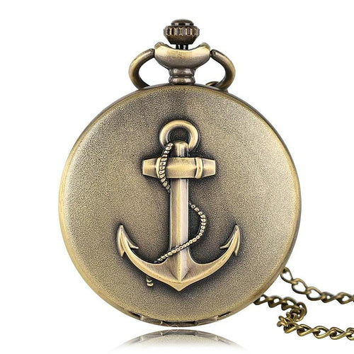 Vintage Anchor Pocket Watch Necklace