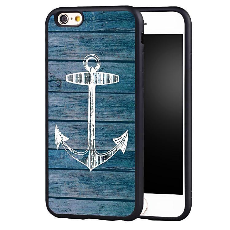 Vintage Wood Pattern Anchor iPhone Case Nautical Phone Case