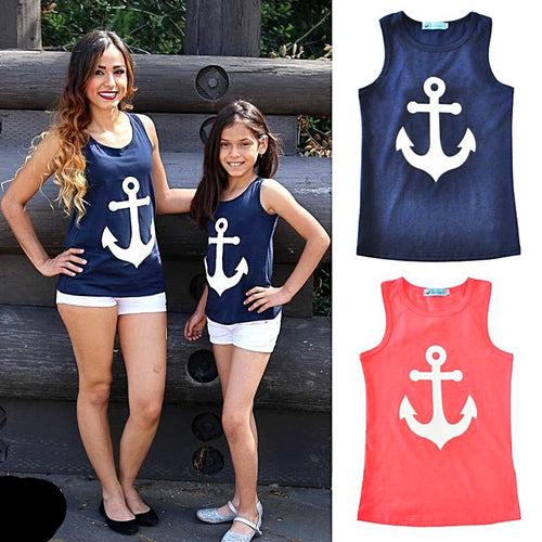 Mum and Daughter Summer Anchor T-shirt Nautical Fashion Style
