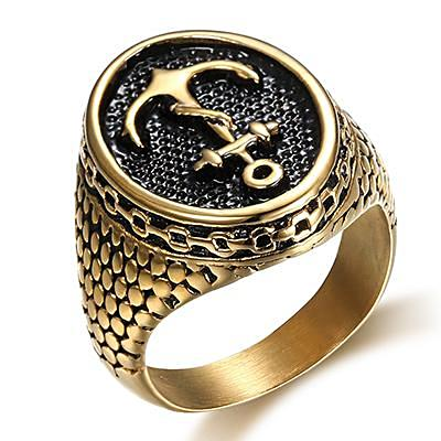 Gold Snakeskin Anchor Ring for Men - Nautical Ring Nautical Jewelry