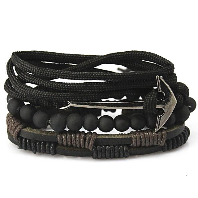 Leather Multi-layer Bead Anchor Bracelet for Men
