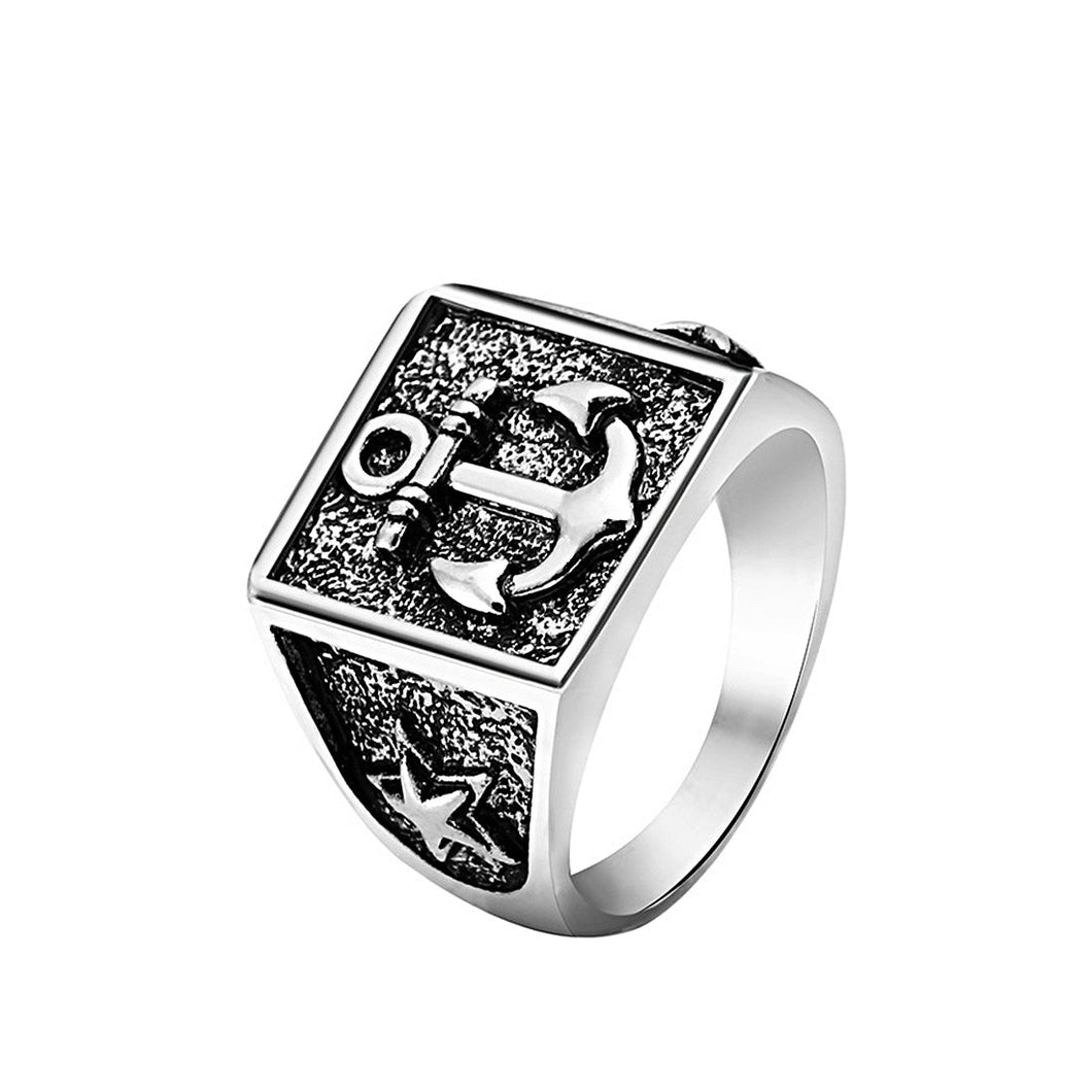 Vintage Square Anchor Ring For Men Nautical Ring Nautical Jewelry